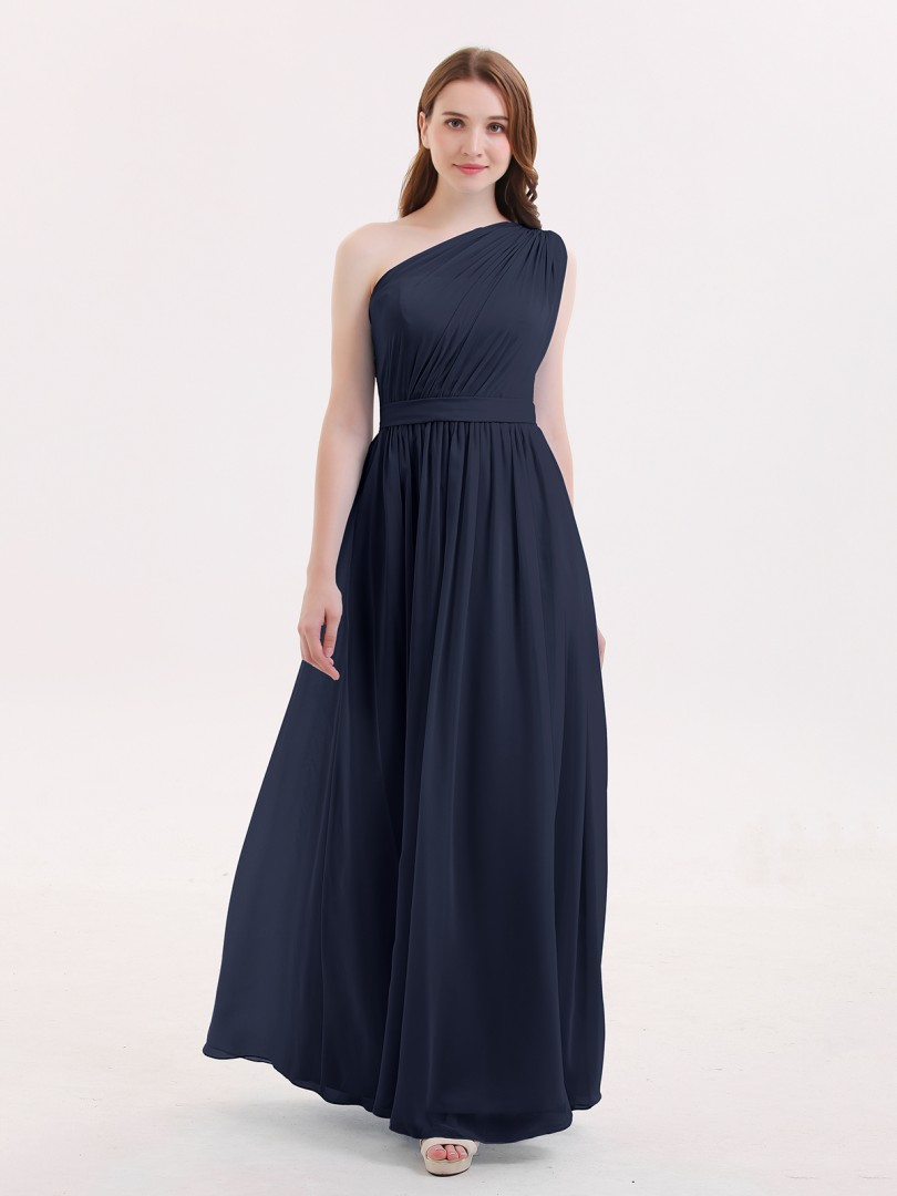 A-line Chiffon Dark Navy Zipper Side Ruffle, Pleated Floor-length One Shoulder Sleeveless Beautiful Bridesmaid Bresses