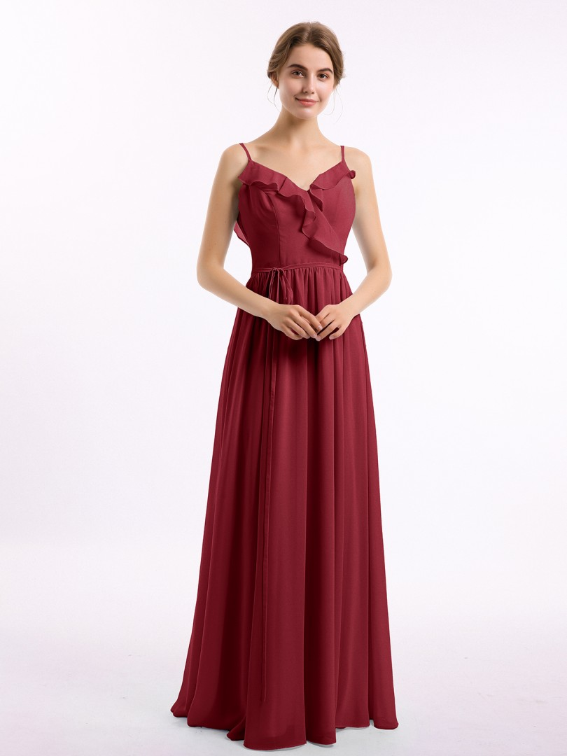 A-line Chiffon Burgundy Backless Belt, Ruched, Pleated Floor-length V-neck Spaghetti Straps Bridesmaid Dresses Under 100