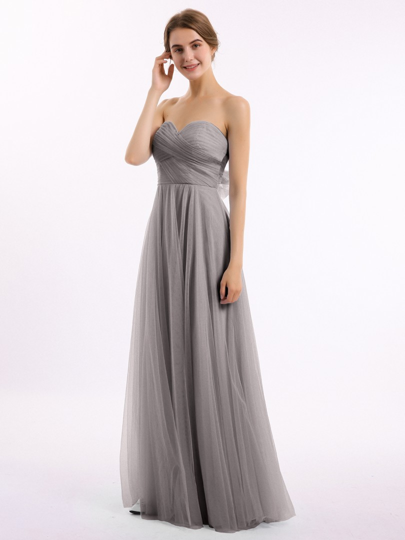 A-line Tulle Sky Blue Backless Bow, Ruched Floor-length Sweetheart Sleeveless Bridesmaid Dresses Under 100
