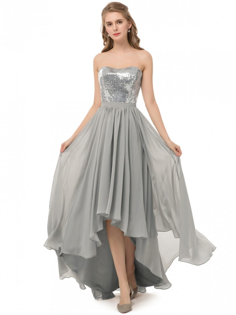 A-line Sequin Silver Zipper Ruched Asymmetrical Strapless Sleeveless Sequins Bridesmaid Dresses