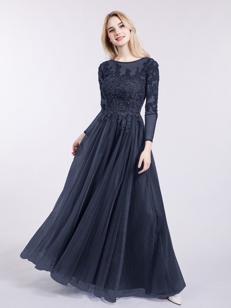 A-line Tulle Dark Navy Zipper Appliqued, Beaded Floor-length Bateau Long Sleeve Evening Dresses