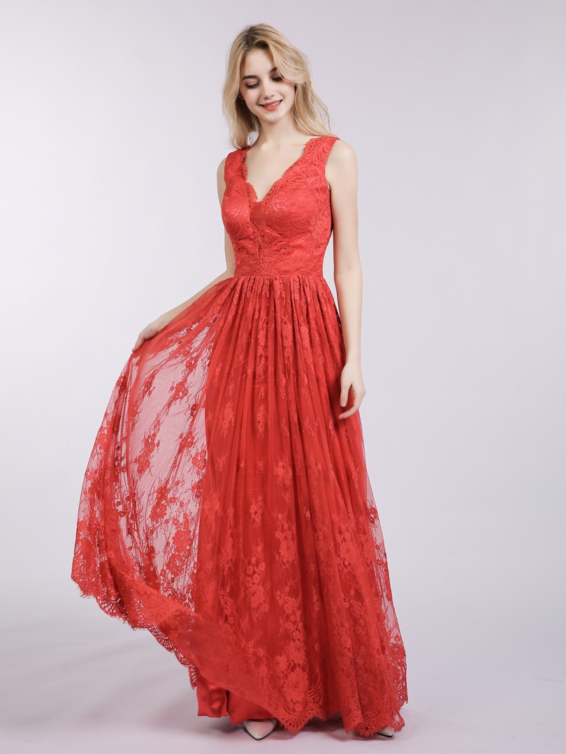 A-line Lace Red Backless Floor-length V-neck Sleeveless Evening Dresses