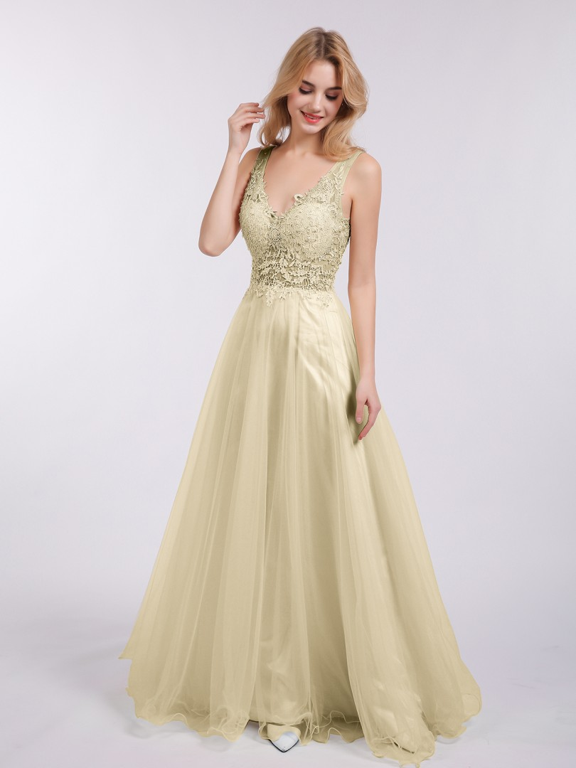 A-line Tulle Champagne Backless  Floor-length V-neck Sleeveless Beautiful Bridesmaid Bresses