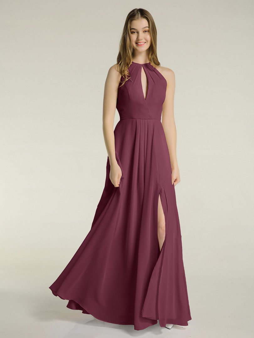 A-line Chiffon Mulberry Zipper Ruched, Pleated Floor-length Halter Sleeveless New Arrivals