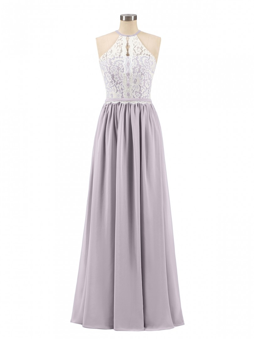A-line Chiffon Dusk Zipper Lace, Ruched Floor-length Halter Sleeveless Unique Bridesmaid Dresses