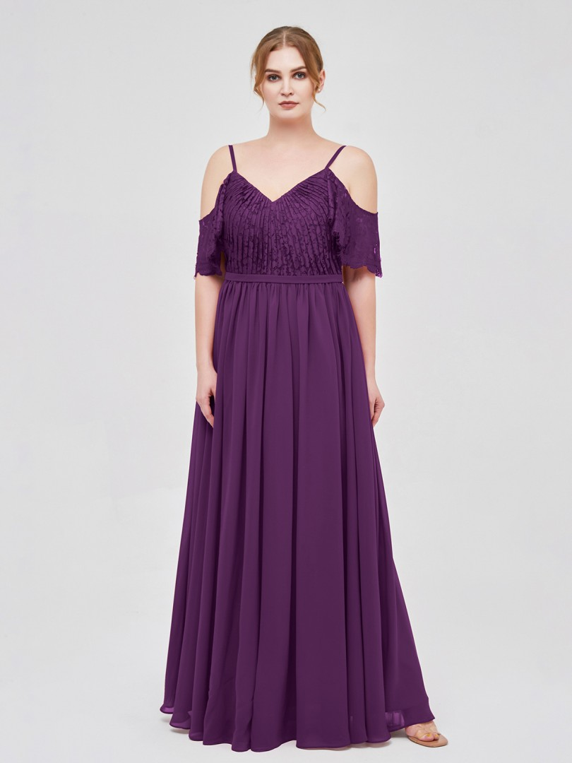 A-line Chiffon Grape Zipper Lace, Ruched Floor-length V-neck Spaghetti Straps Affordable Bridesmaid Dresses