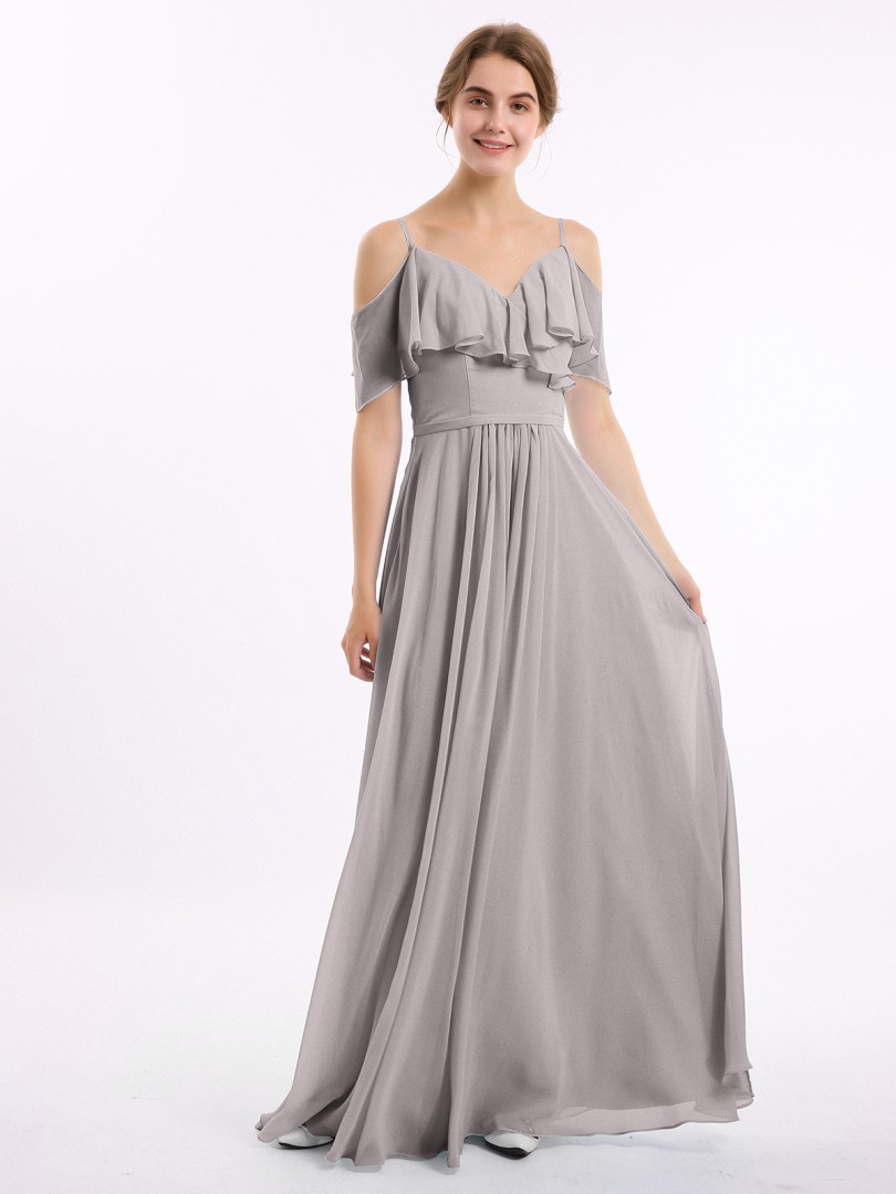 A-line Chiffon Chocolate Zipper Belt, Ruffle, Ruched Floor-length Off-the-shoulder Spaghetti Straps Bridesmaid Dresses Under 100