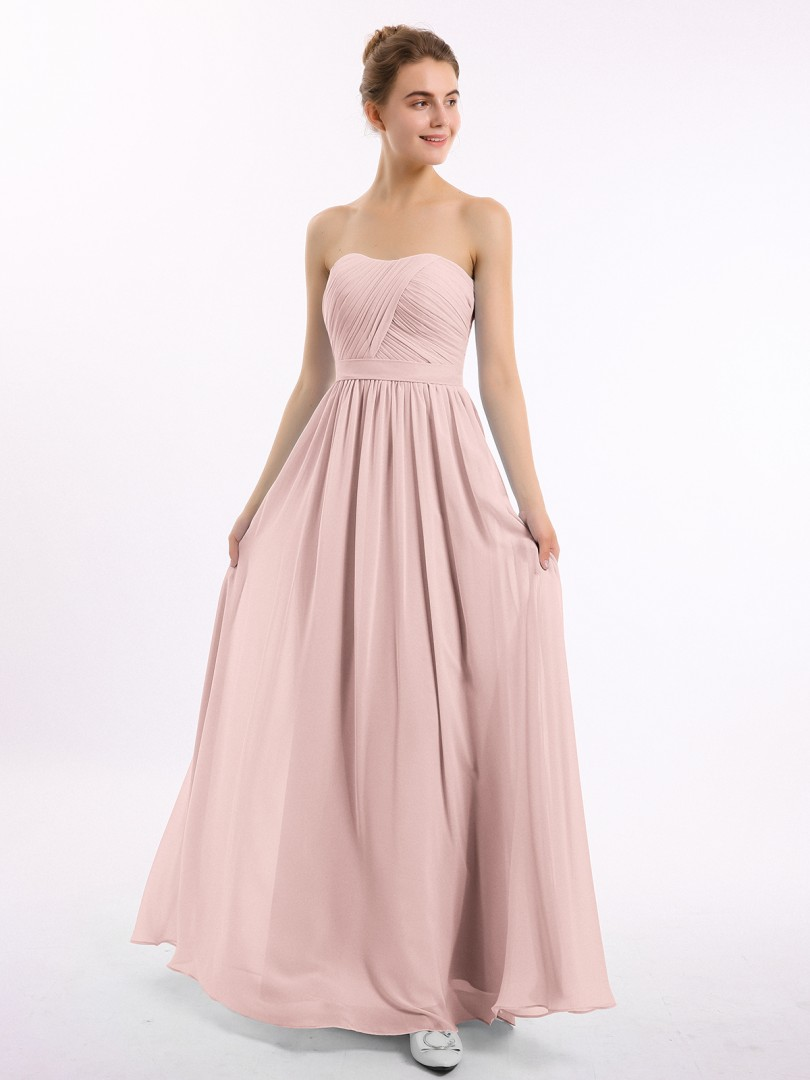A-line Chiffon Dusty Rose Zipper Ruched, Pleated Floor-length Sweetheart Sleeveless Bridesmaid Dresses Under £50