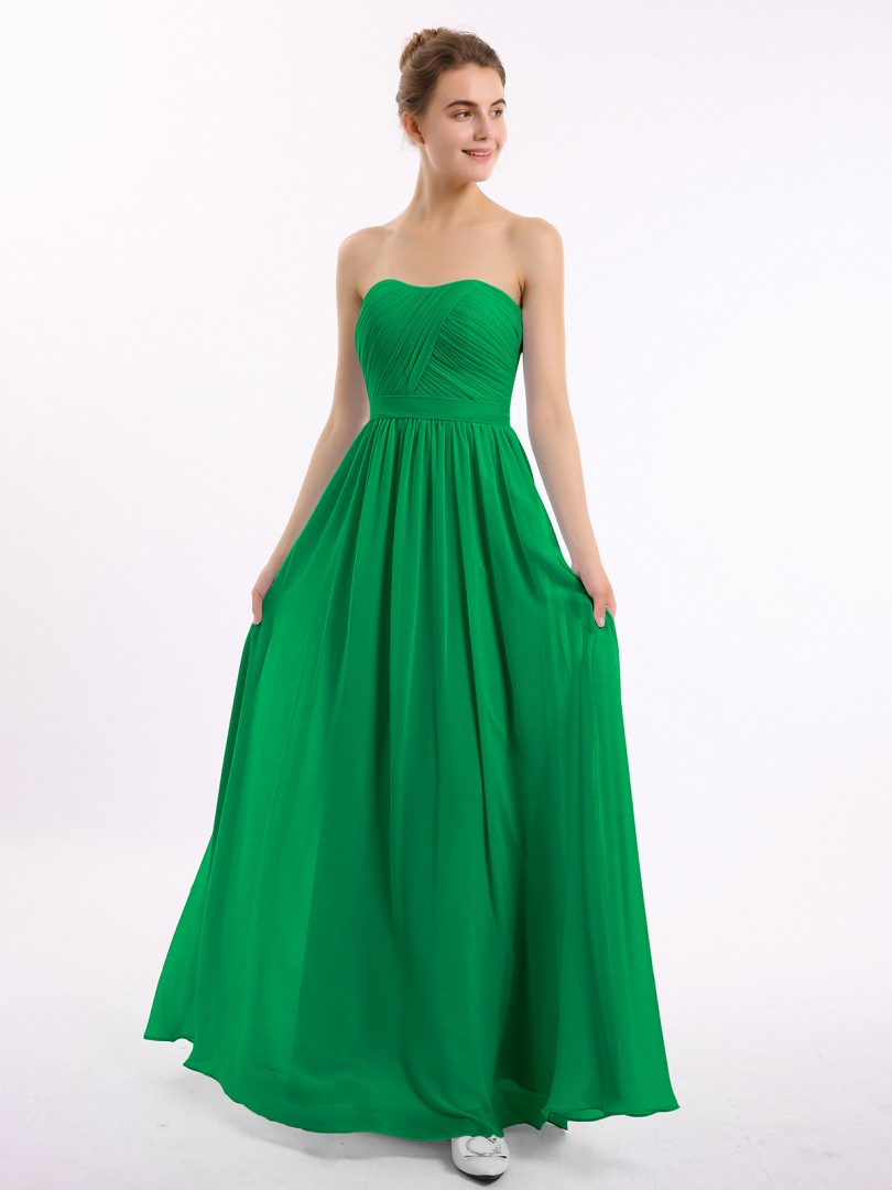 A-line Chiffon Emerald Zipper Ruched, Pleated Floor-length Sweetheart Sleeveless Bridesmaid Dresses Under 100