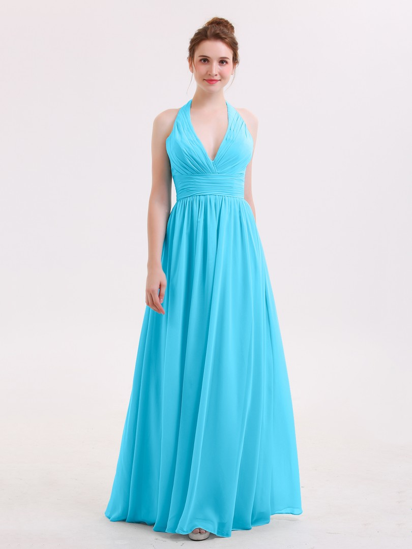 A-line Chiffon Pool Zipper Ruched, Pleated Floor-length Halter Sleeveless Beautiful Bridesmaid Bresses