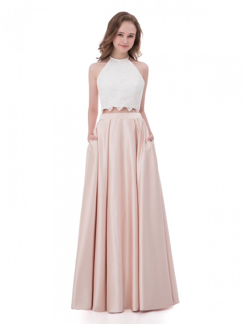 A-line Satin Pearl Pink Zipper  Floor-length Halter Sleeveless Formal Dresses