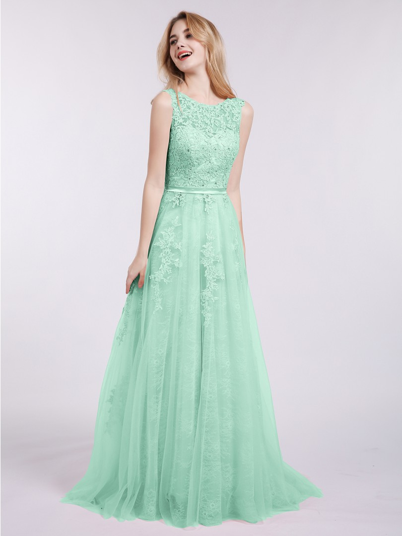 A-line Tulle Mint Green Backless Appliqued Sweep/Brush Train Scoop Sleeveless Evening Dresses