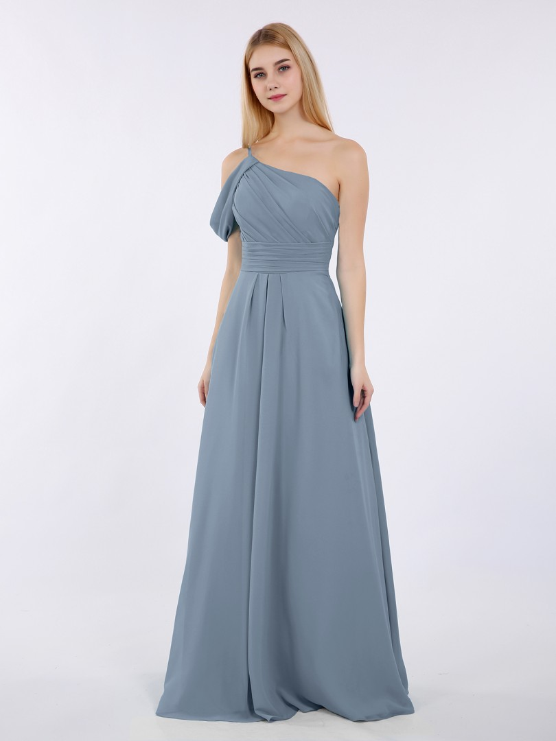 A-line Chiffon Pool Zipper Side Ruched, Pleated Floor-length One Shoulder Straps Elegant Bridesmaid Dresses