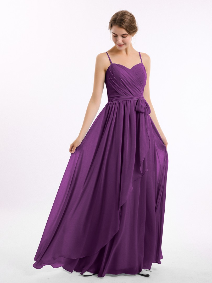 A-line Chiffon Grape Zipper Side Belt, Ruffle, Ruched Floor-length Sweetheart Spaghetti Straps Bridesmaid Dresses Under 100