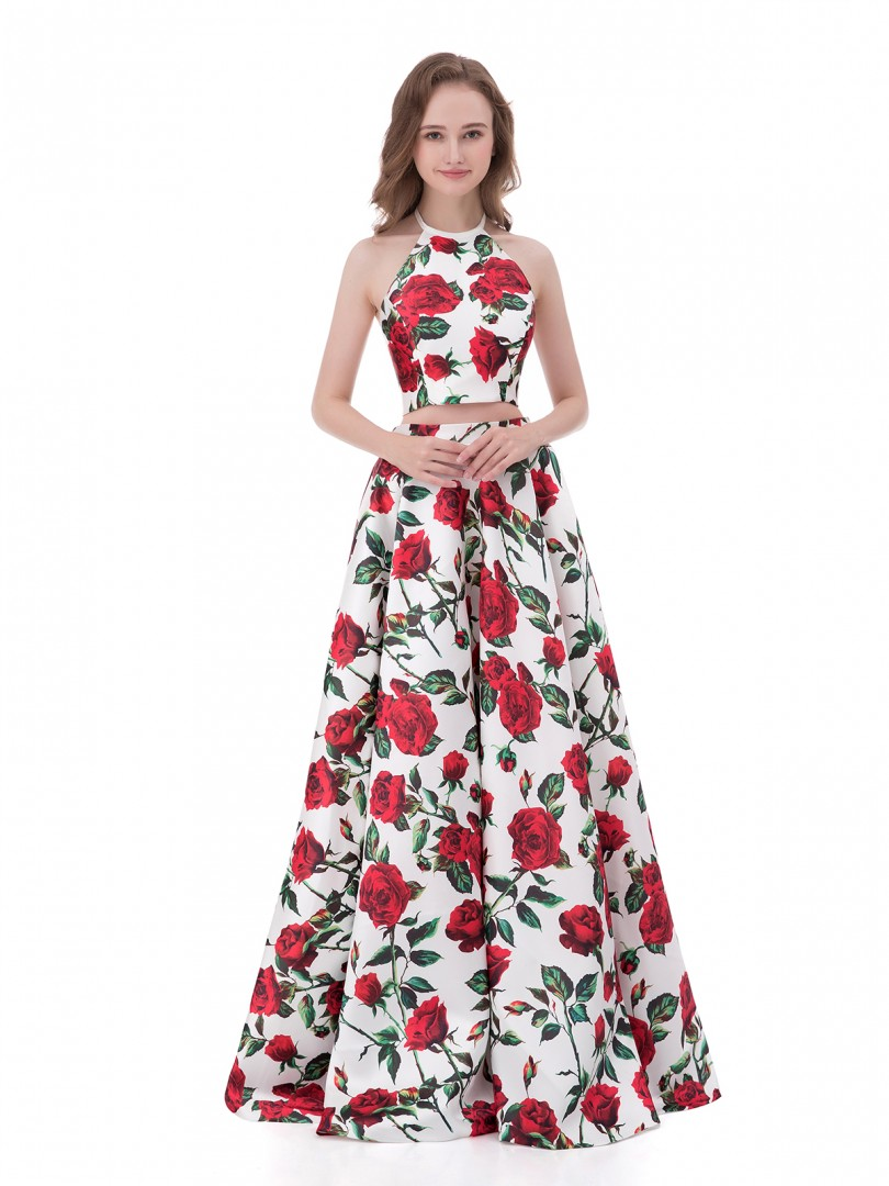 A-line Satin Floral Zipper Floral Floor-length Halter Sleeveless Formal Dresses