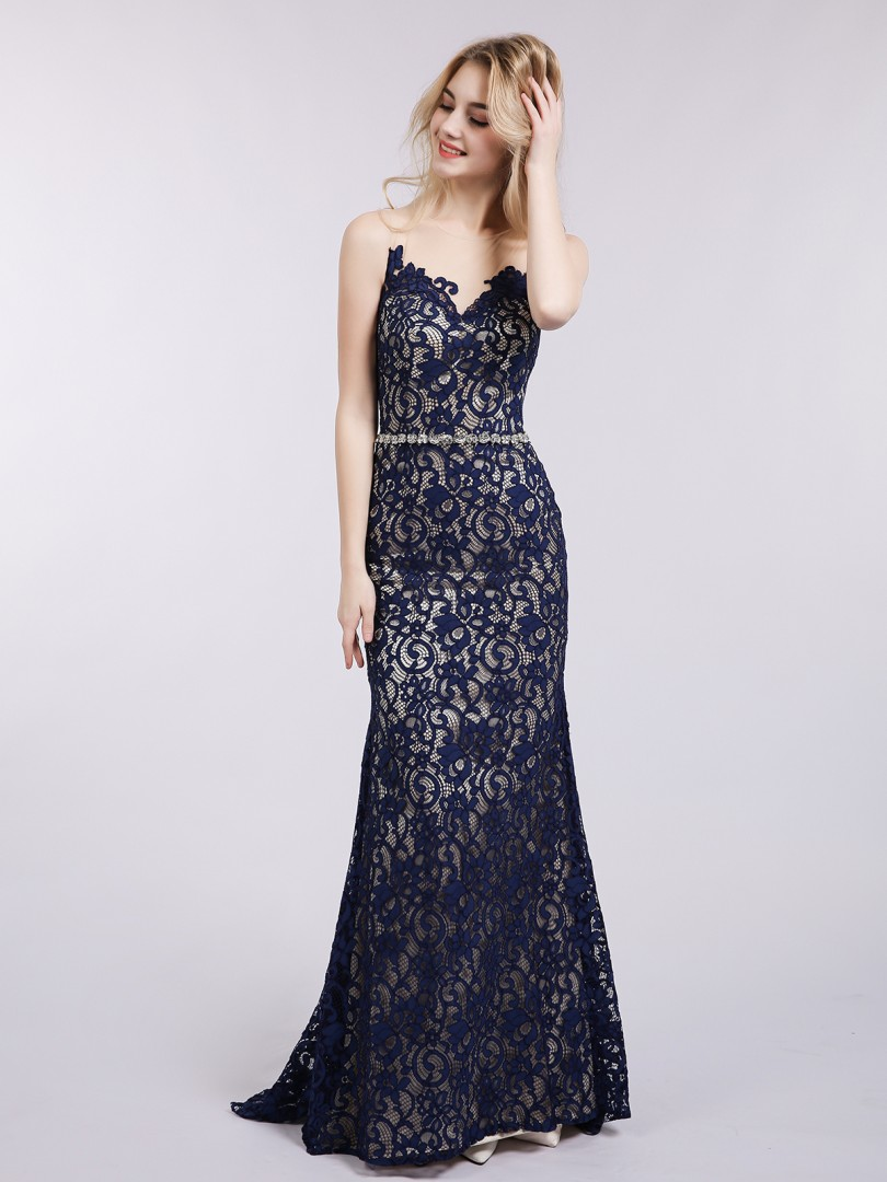 Trumpet/Mermaid Lace Dark Navy Zipper Rhinestone Sweep/Brush Train Illusion Sleeveless Evening Dresses