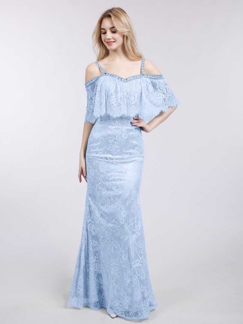 Trumpet/Mermaid Lace Sky Blue Zipper Side Beaded Floor-length Off-the-shoulder Straps Evening Dresses