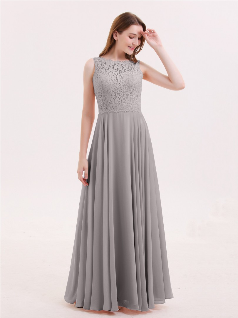 A-line Chiffon Coral Zipper Lace Floor-length Bateau Sleeveless Affordable Bridesmaid Dresses