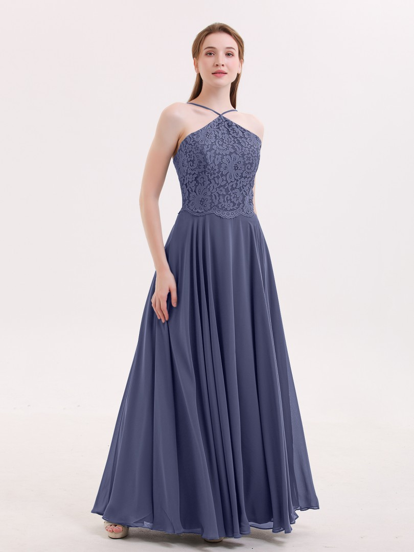 A-line Chiffon Stormy Zipper Lace Floor-length Halter Spaghetti Straps Beautiful Bridesmaid Bresses