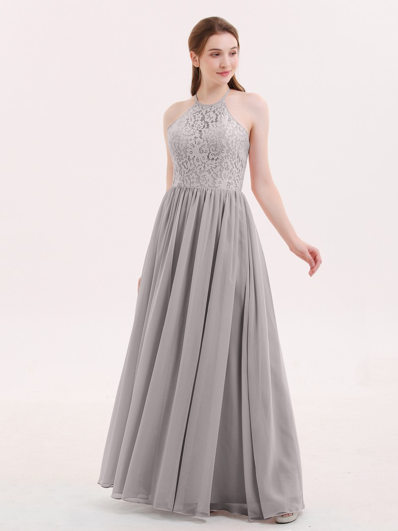 A-line Chiffon Dusk Criss-Cross Straps Lace, Ruched Floor-length Halter Sleeveless Beautiful Bridesmaid Bresses