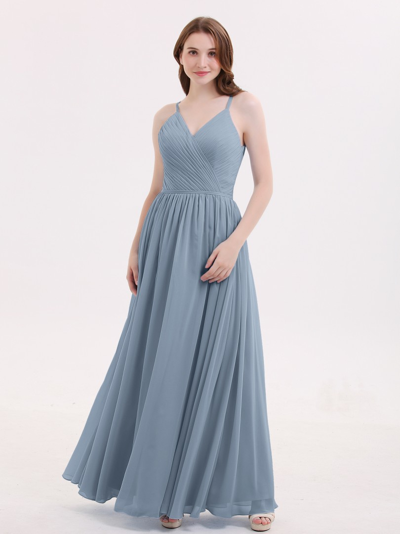 A-line Chiffon Dusty Blue Zipper Ruched, Pleated Floor-length V-neck Spaghetti Straps Affordable Bridesmaid Dresses