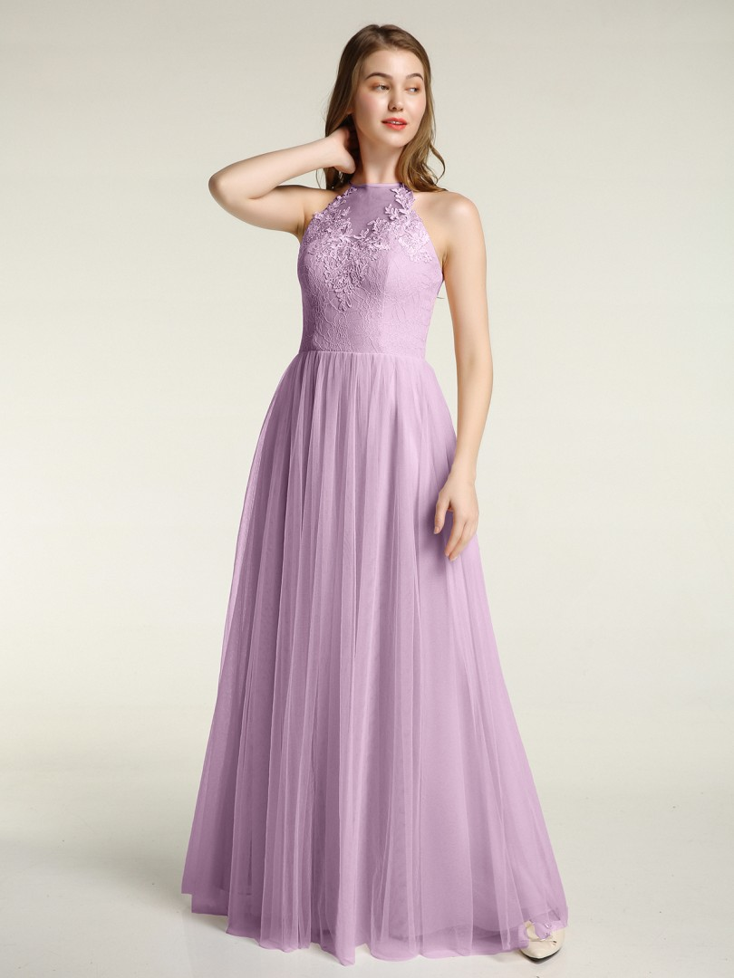 A-line Tulle Wisteria Zipper Appliqued Floor-length Halter Sleeveless New Arrivals