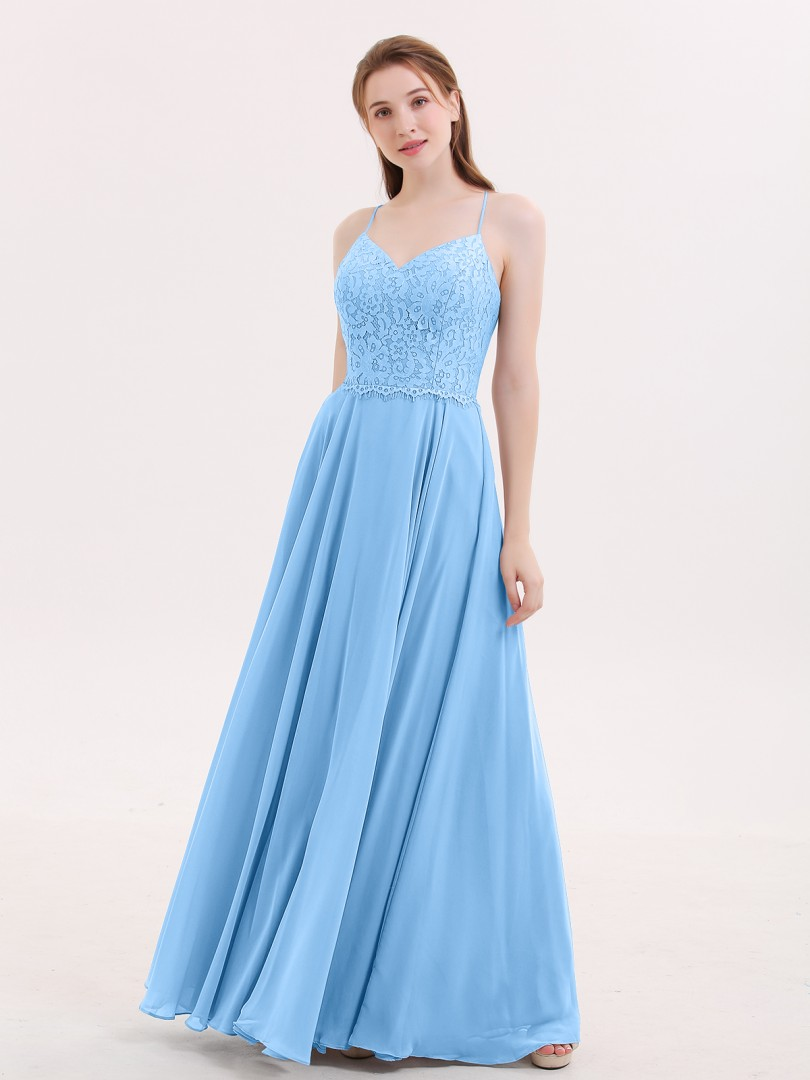 A-line Chiffon Blue Criss-Cross Straps Lace, Ruched Floor-length V-neck Spaghetti Straps Elegant Bridesmaid Dresses