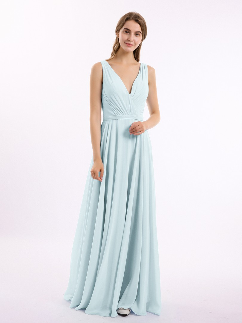 A-line Chiffon Mist Backless Belt, Ruched, Pleated Floor-length V-neck Sleeveless Bridesmaid Dresses Under 100