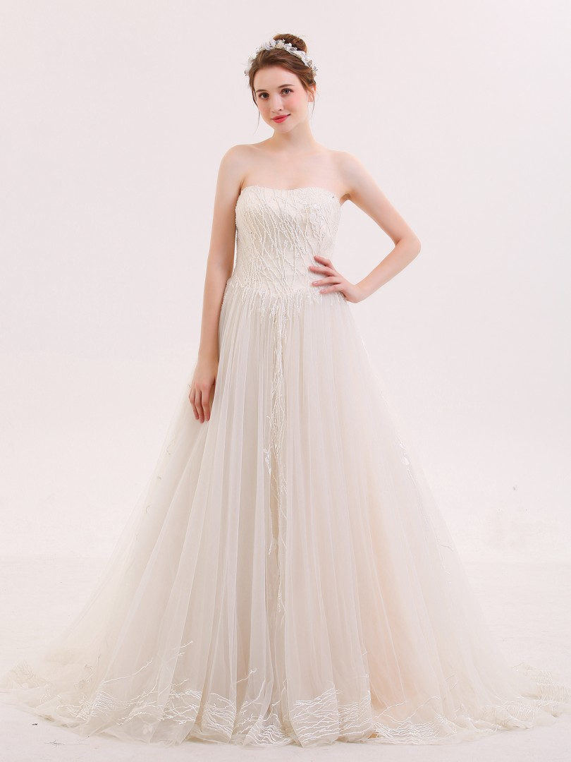 A-line Tulle Champagne Lace-up Beaded Sweep/Brush Train Strapless Sleeveless Wedding