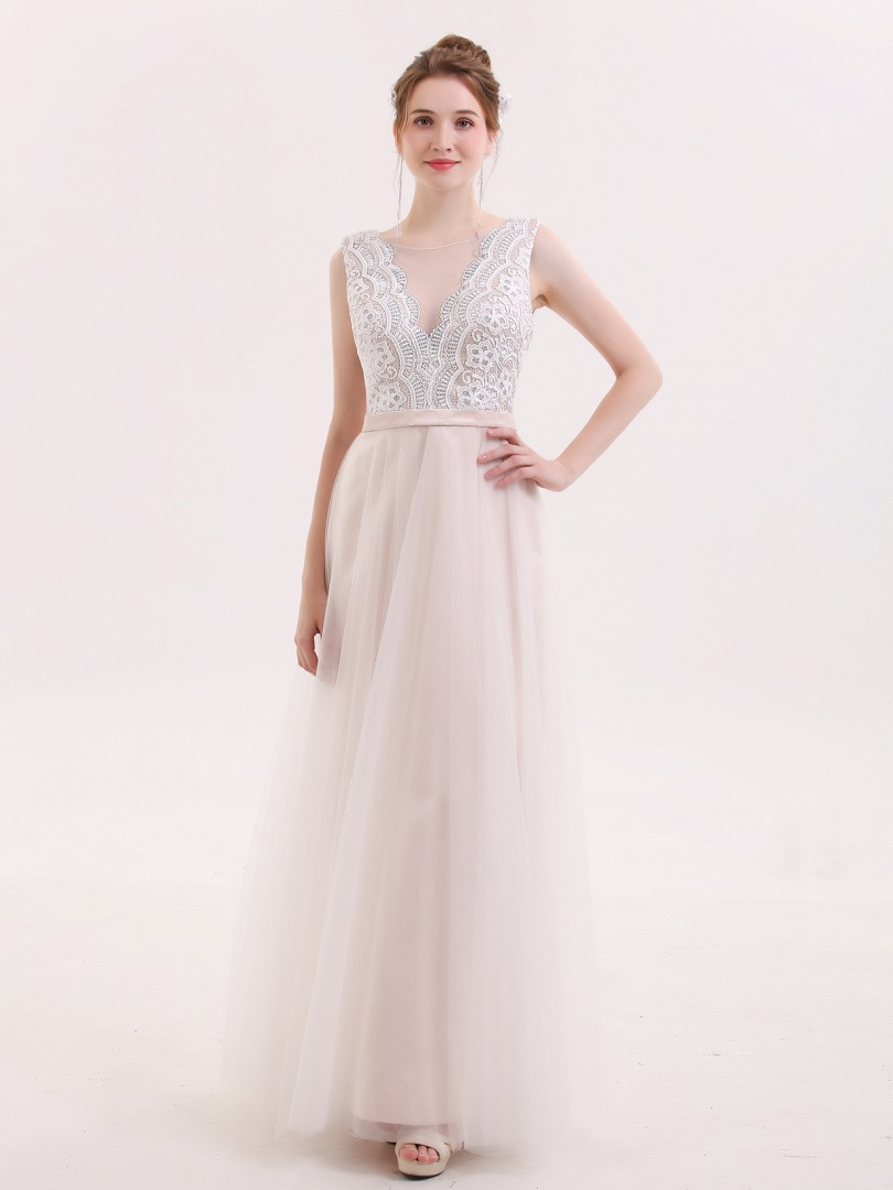 A-line Tulle Champagne Zipper Lace Floor-length Scoop Sleeveless Evening Dresses