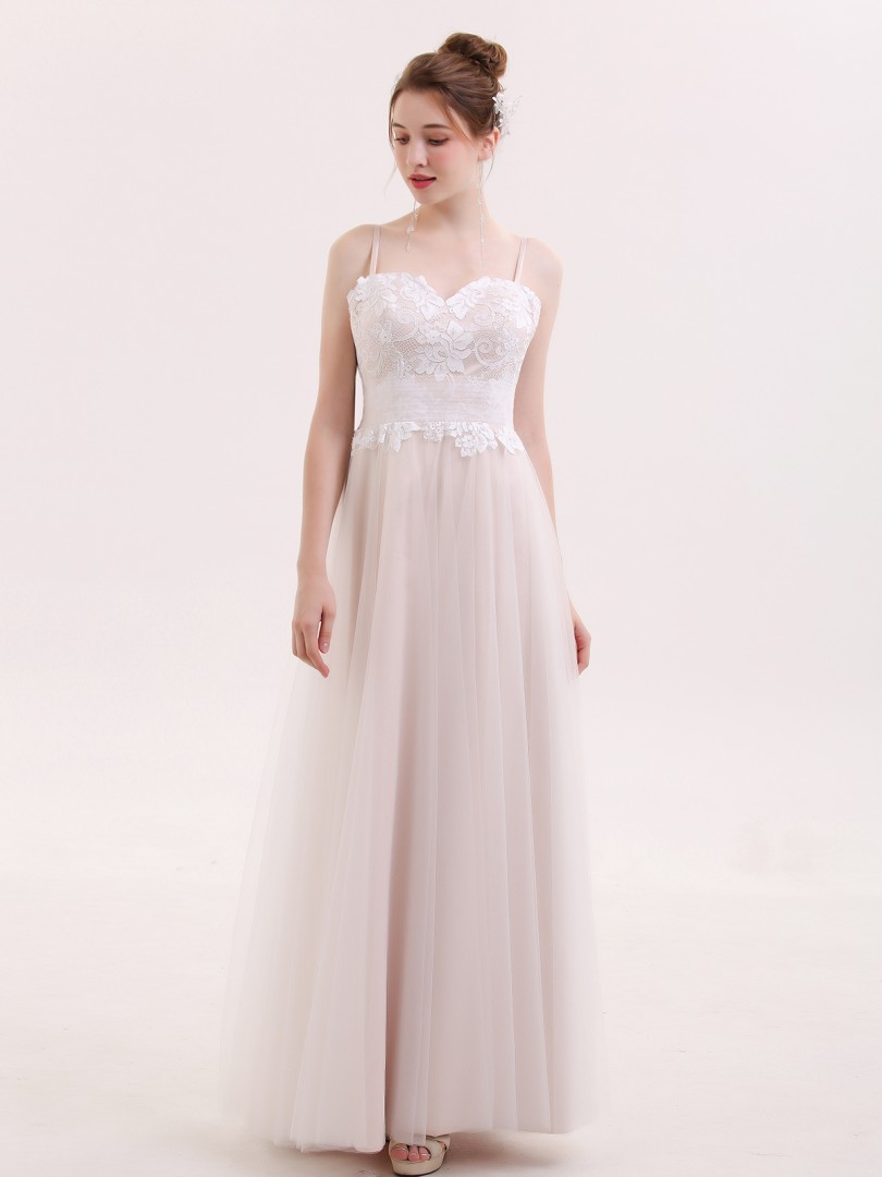 A-line Tulle Champagne Zipper Appliqued, Bow, Pleated Floor-length Sweetheart Spaghetti Straps Evening Dresses
