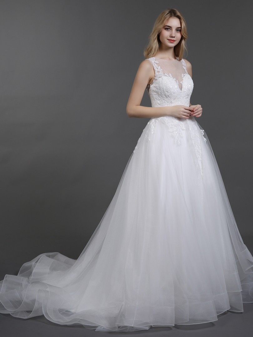 A-line Tulle Ivory Zipper Appliqued Chapel train Scoop Sleeveless Wedding Dresses 2019