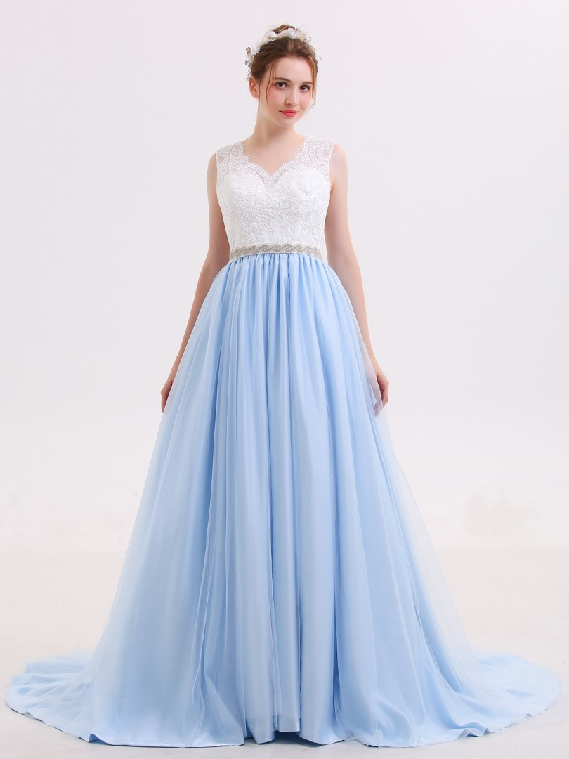 Ball Gown Tulle Sky Blue No Lace, Rhinestone, Sash Sweep/Brush Train Scoop Sleeveless Wedding