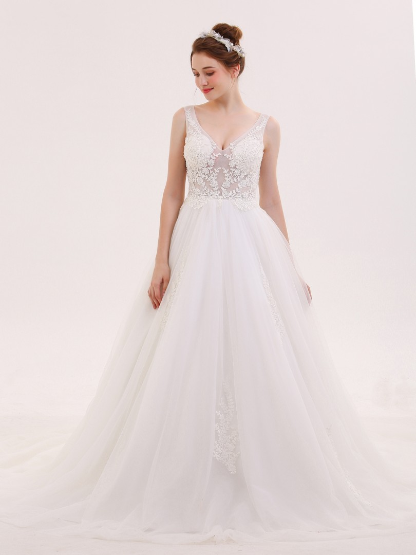 A-line Tulle Ivory Lace-up Appliqued, Beaded Sweep/Brush Train V-neck Sleeveless Wedding