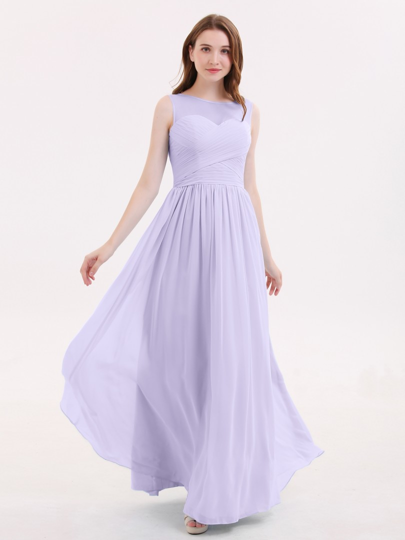 A-line Chiffon Lilac Zipper Pleated Floor-length Illusion Sleeveless Beautiful Bridesmaid Bresses