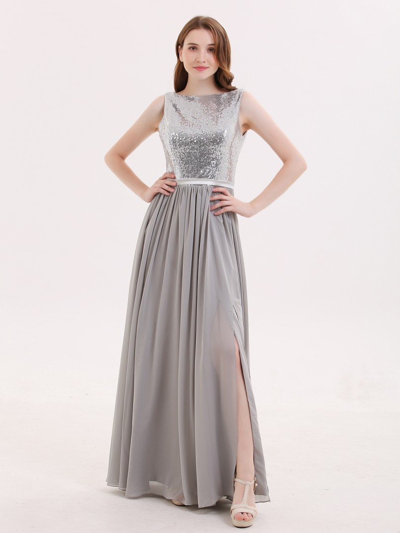A-line Sequin Silver Zipper Ruched Floor-length Bateau Sleeveless Unique Bridesmaid Dresses