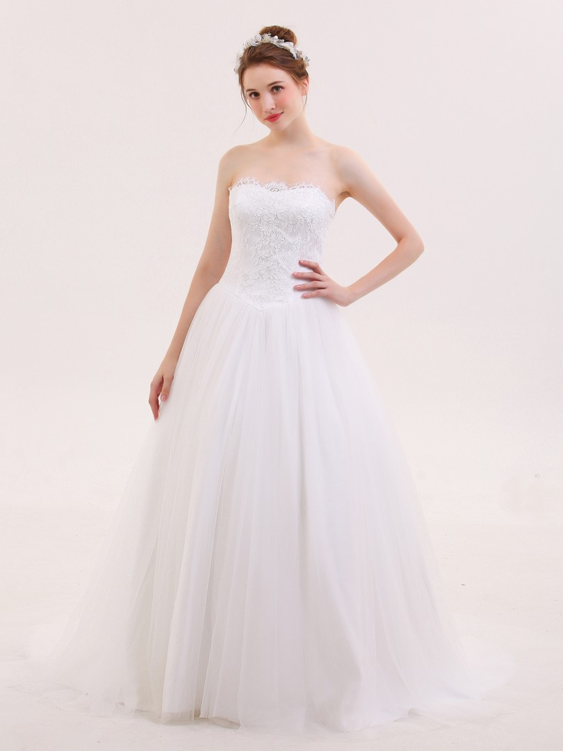 A-line Tulle Ivory Lace-up Lace, Ruched Sweep/Brush Train Strapless Sleeveless Wedding